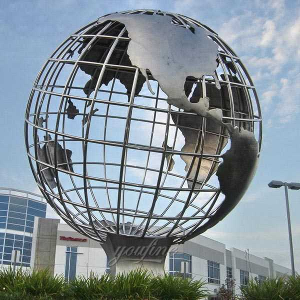 Modern Stainless Steel Globe Sculpture Metal Art Style for Public Decor on Sale CSS-26