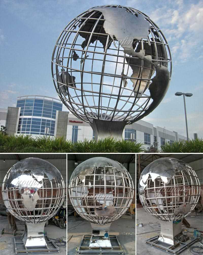 Modern metal art style factory supply stainless steel globe sculpture designs for public decor on sales
