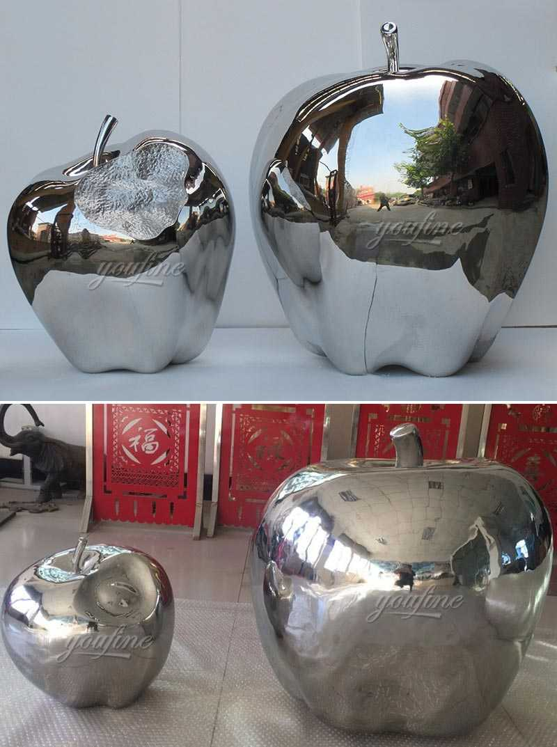 Modern metal street and yard art mirror stainless steel apples designs for our american friends