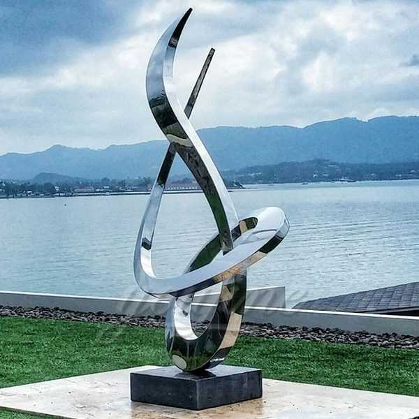Modern stainless steel abstract sculpture