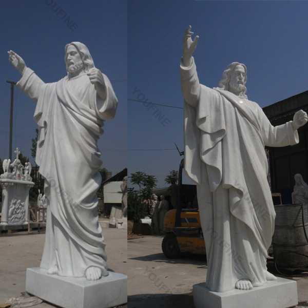 Outdoor huge catholic white marble church statues of christ Jesus making for parish ceremony
