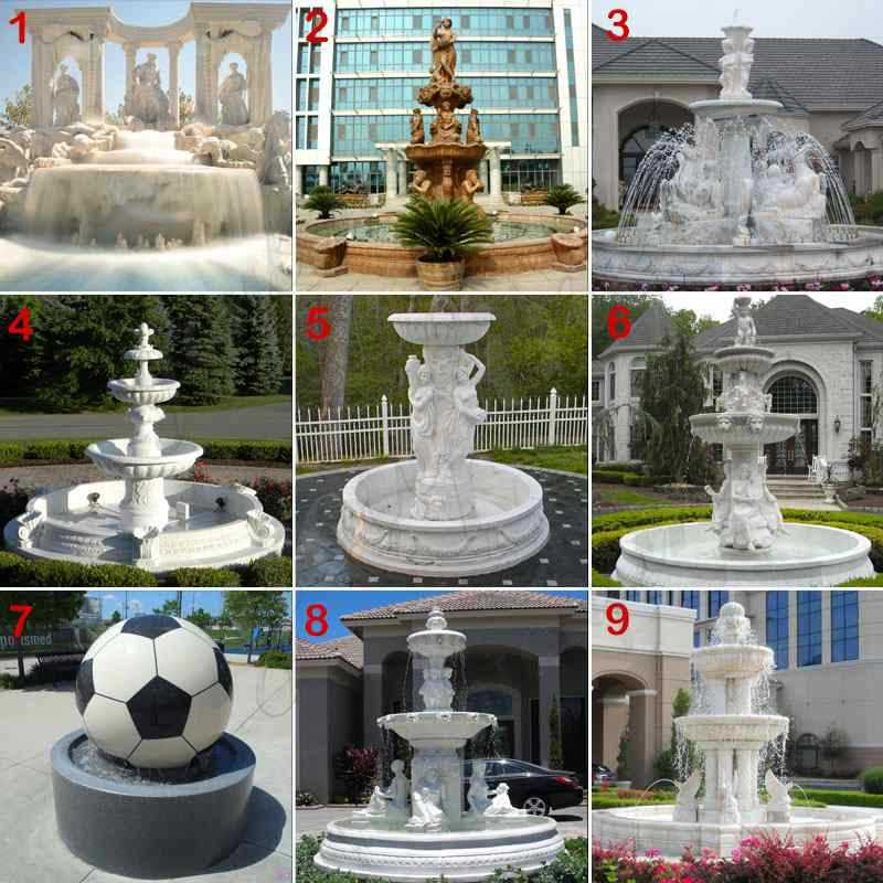 Outdoor White Marble Fountain