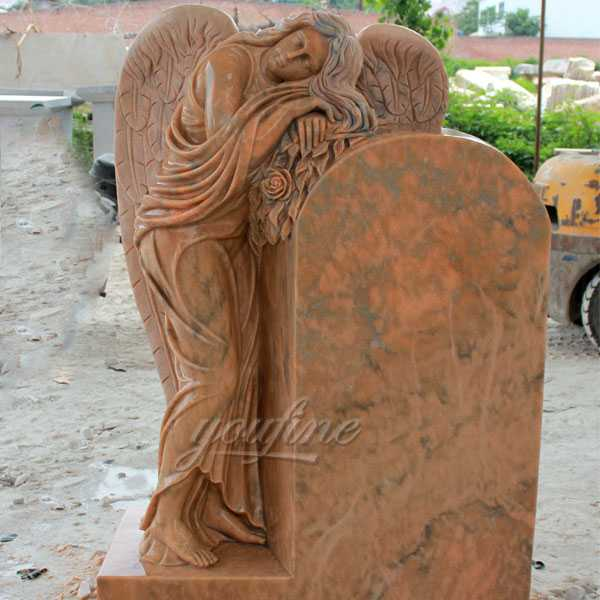 Polished granite stone angel headstone design for sale