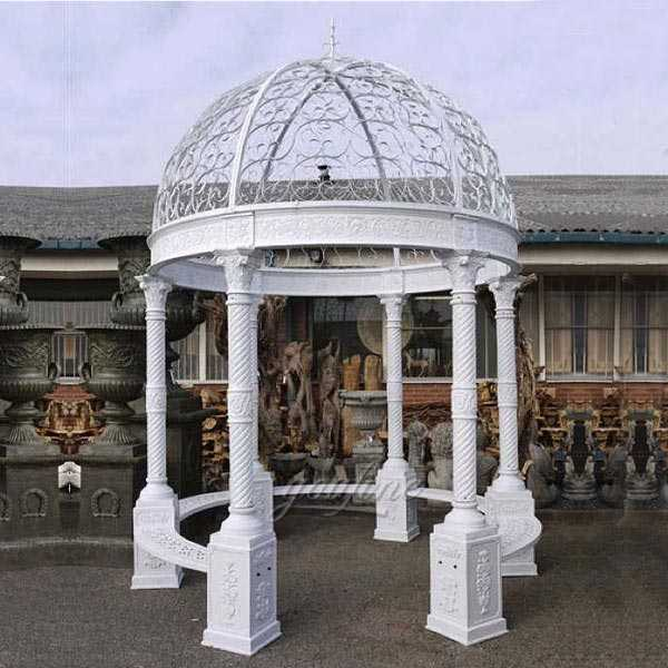 Popular simple design white iron garden gazebo for wedding ceremony or garden decor designs for sale