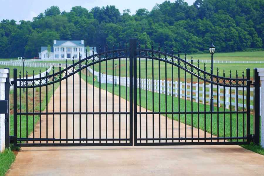 Simple decorative metal garden high quality entrance wrought iron gates designs for sale--IOK-179