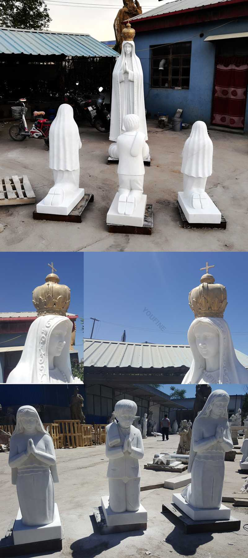 The details of catholic church sculptures design our lady of Fatima statues for sale