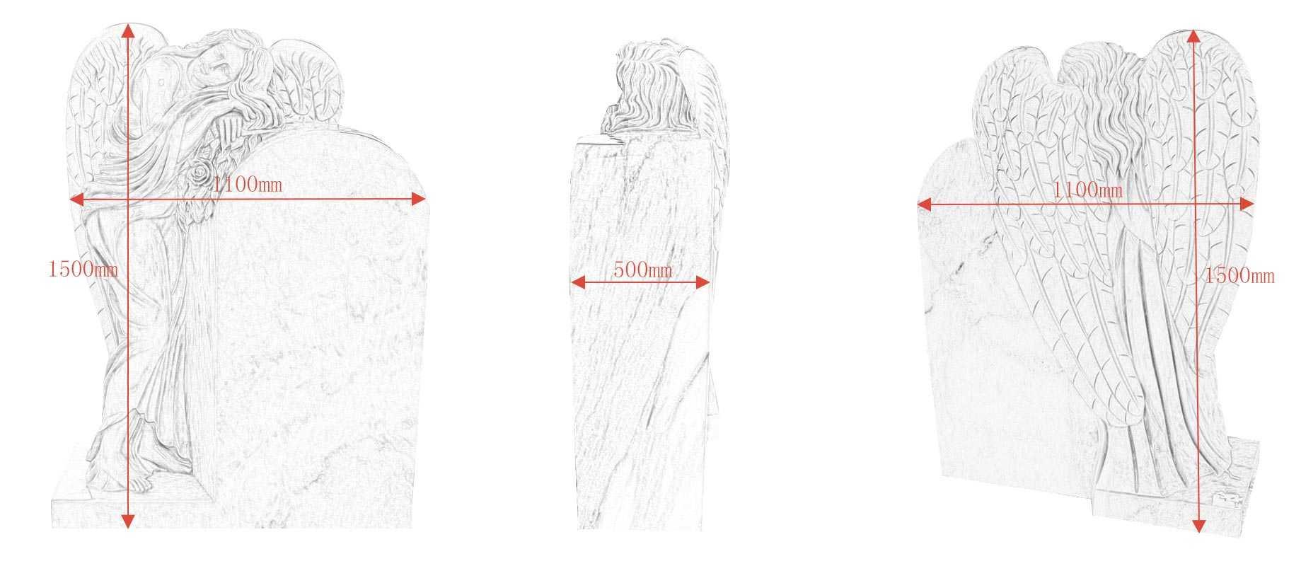 The polished granite headstone drawings