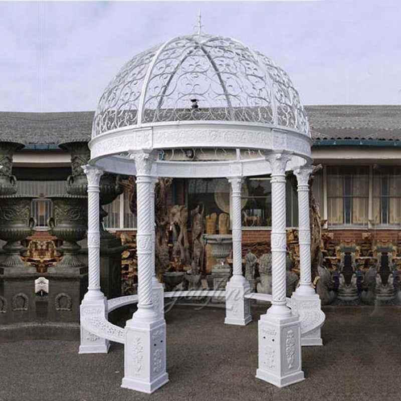 White Iron Garden Gazebo for Wedding CeremonyWhite Iron Garden Gazebo for Wedding Ceremony