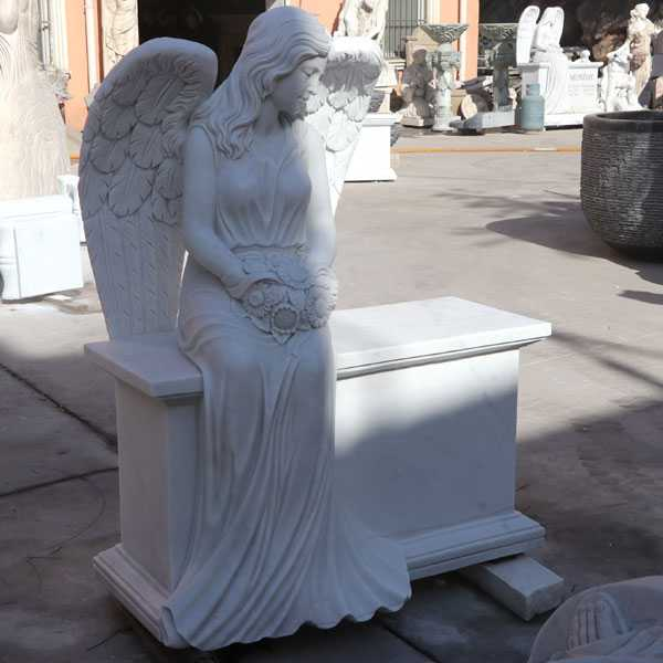 White marble angel gravestone monuments for sale