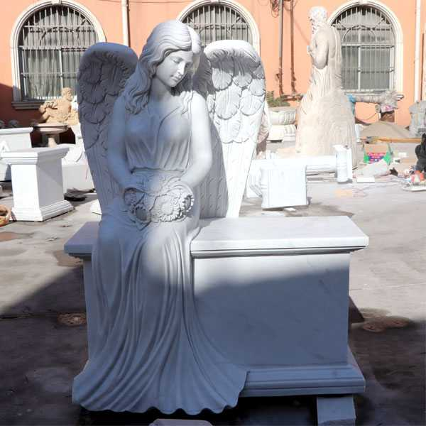 White marble angel tombstone memorials for sale MOKK-38