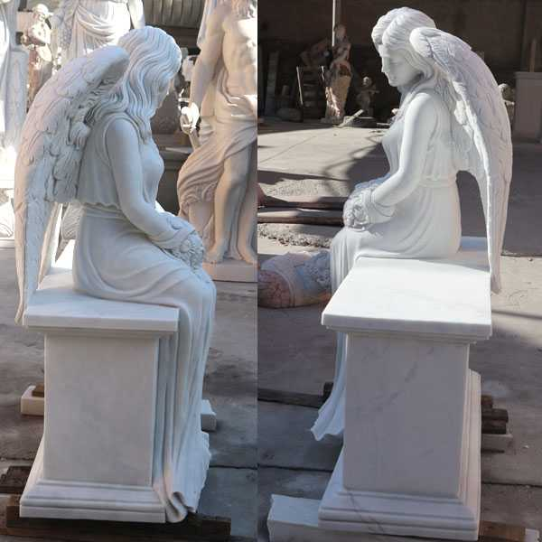 White marble angel tombstone monuments for sale