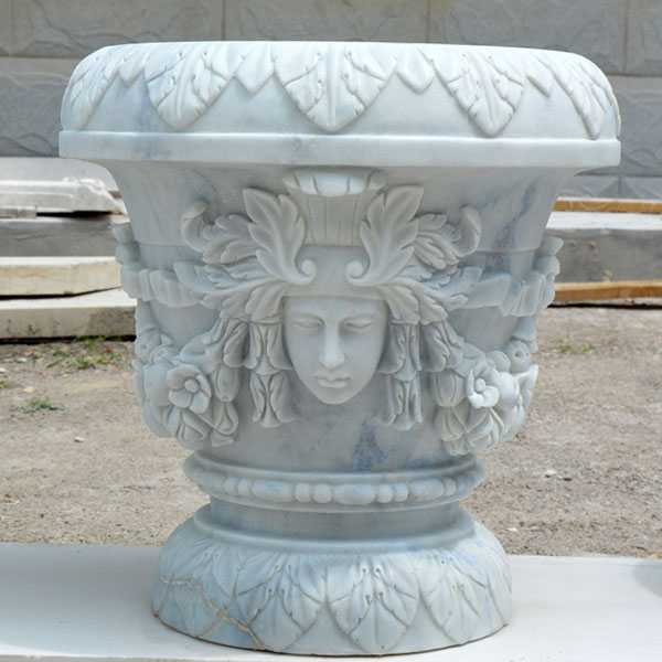 White outdoor garden marble planter with round basin high quality on stock for sale