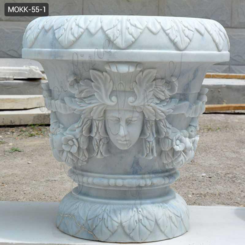 White outdoor garden marble planter with round basin