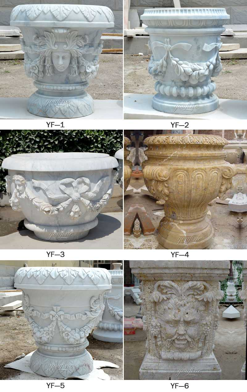 White outdoor garden marble planters with round basins high quality on stock for sale