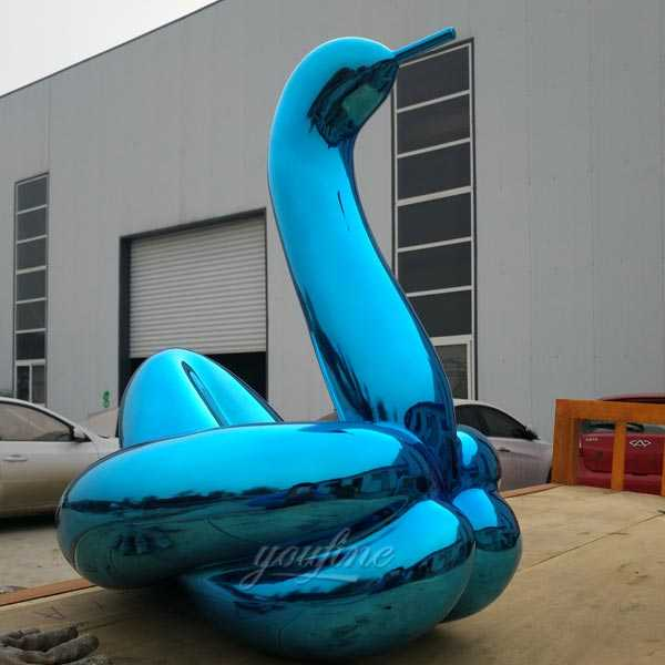 Wholesale modern stainless steel art large garden blue balloon swan replica jeff koons for sale from factory
