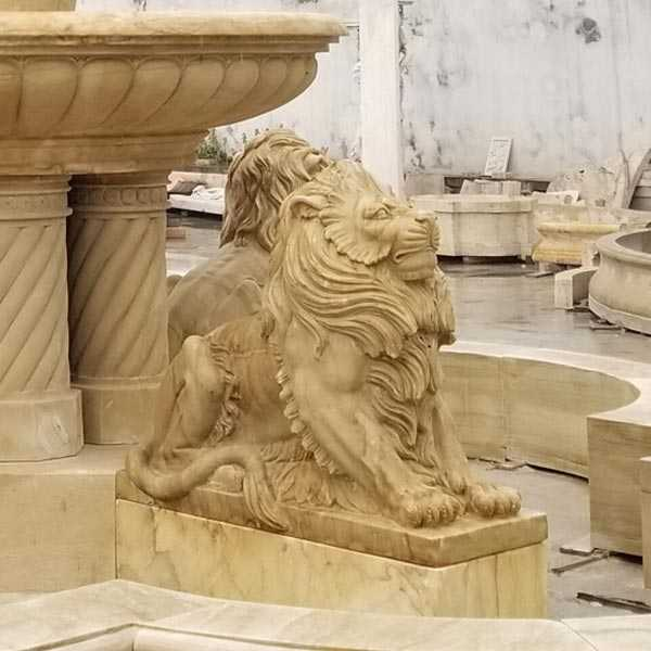 Life Size Yellow Antique Marble Tiered Water Fountain With