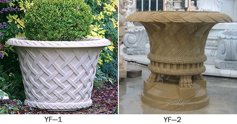 buy modern garden pots and planters white marble flower pot with flowers for sales