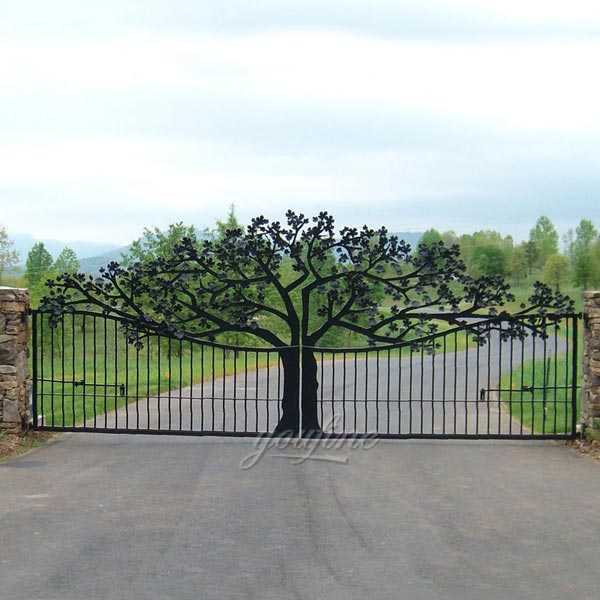 Garden Beautiful Double Sliding Wrought Iron Tree Gates Designs for Sale IOK-122