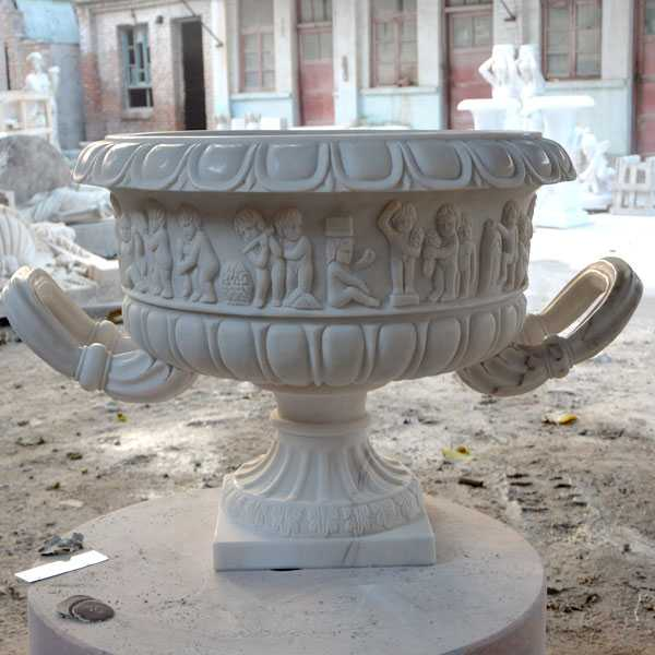 easy designs white marble garden flower with round basin for sale on discount