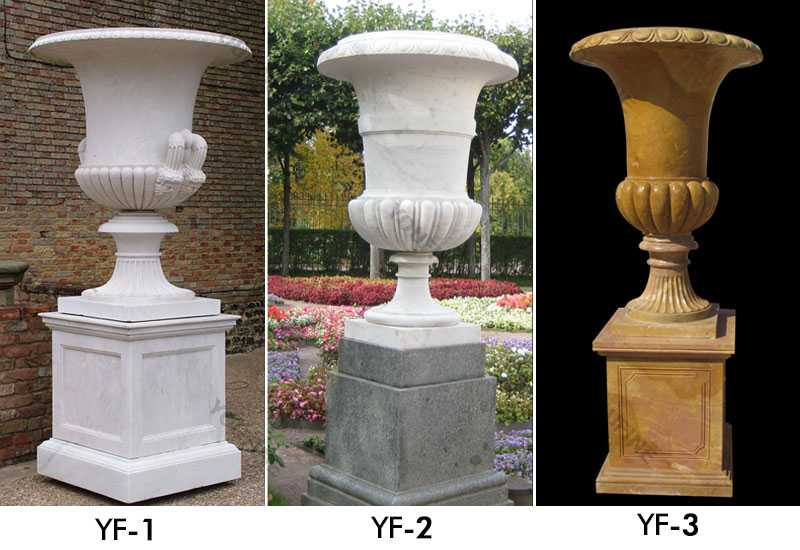 factory direct supply outside tall patio white marble planter for sales for garden decor on stock