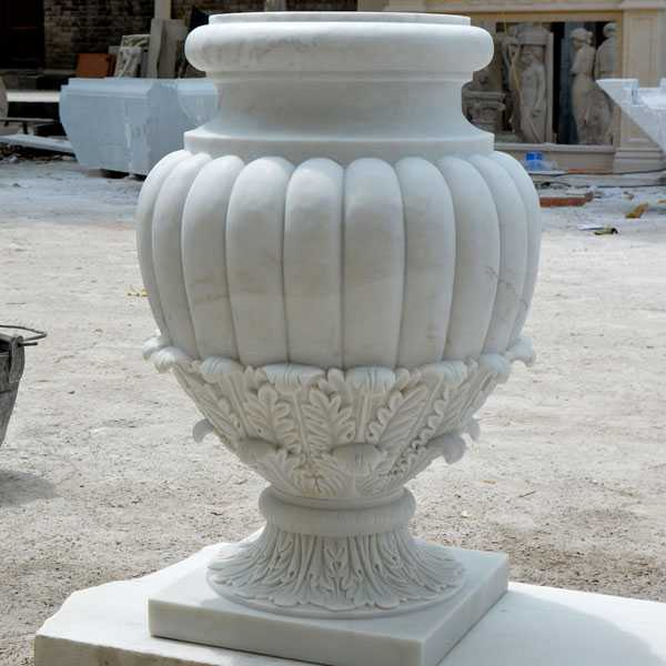 factory supply life size easy designs white marble garden flower pots with round deep basin for sale on discount