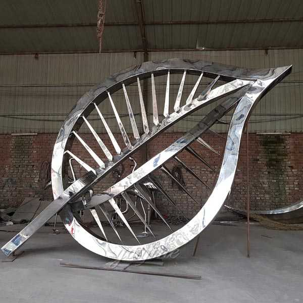 famous contemporary outdoor metal art stainless steel leaf designs for square decor for sales