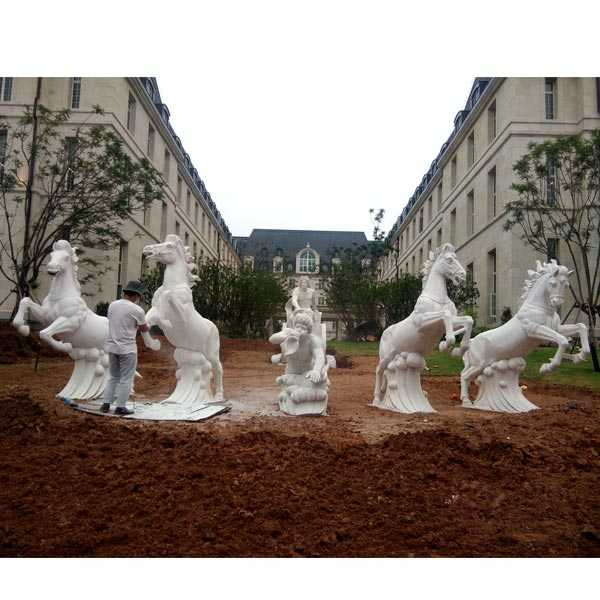 giant outdoor white marble fountain with rearing horse statues for sale for outdoor castle decor