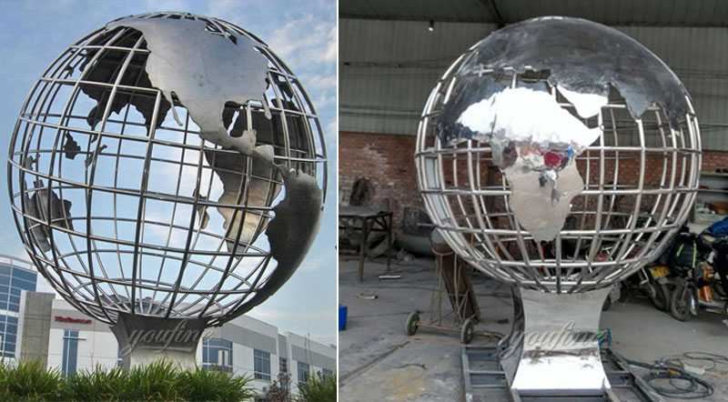 globe stainless steel globe sculpture for sale