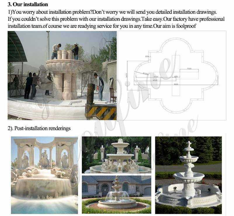 hand carved marble fountain