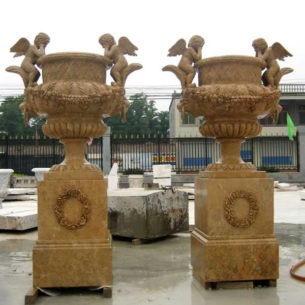 hand carved outdoor natural marble pair of planter with angel for garden for sale