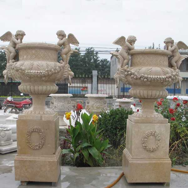 hand carved outdoor natural marble planter with angel for garden for sale