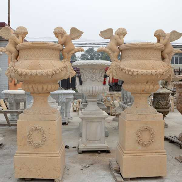 hand carved outdoor natural marble planters with angel for garden for sale