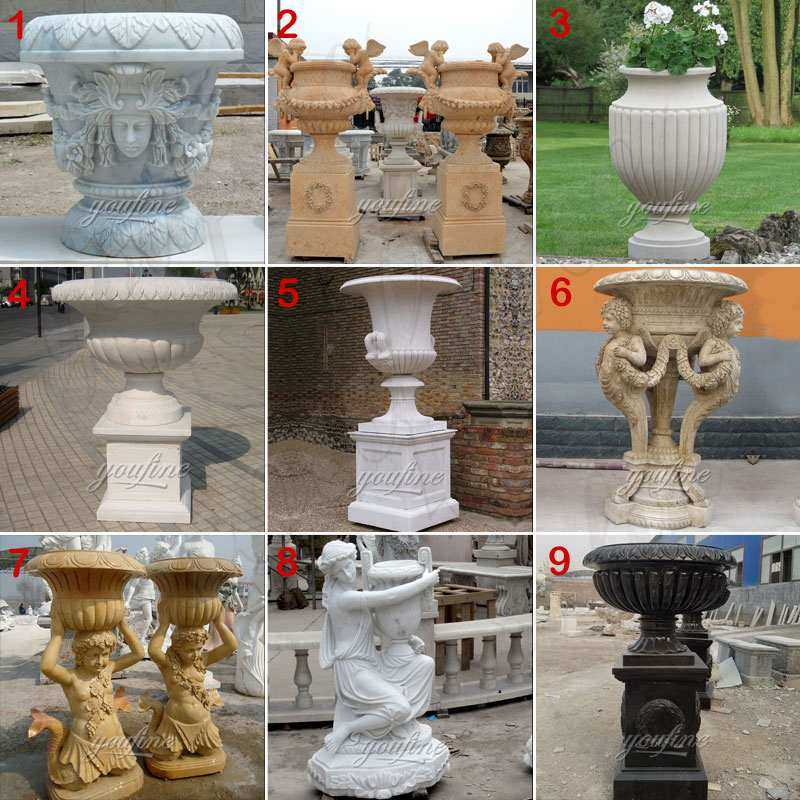 hand carved white marble stone flower baskets