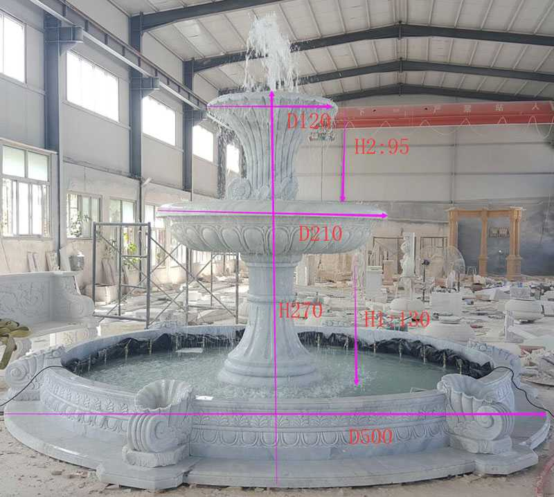 hot selling hand carved two tiered life size pure white marble fountain for garden decoration for sale