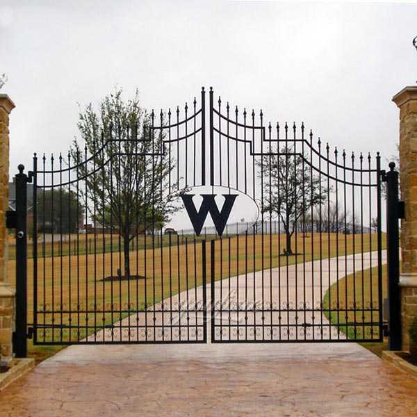 large black simple double open wrought iron driveway gate designs for sale