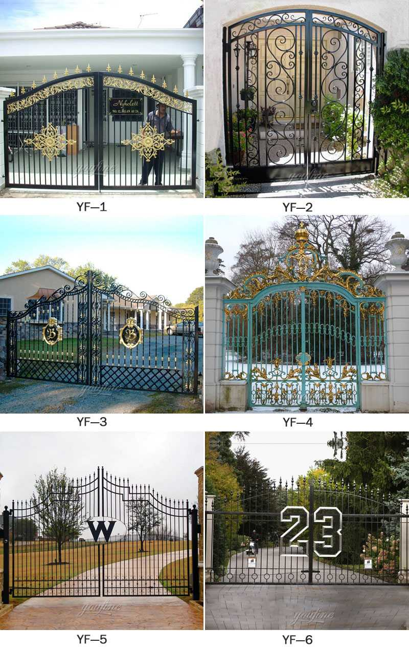 large black simple double open wrought iron driveway gate designs for sales