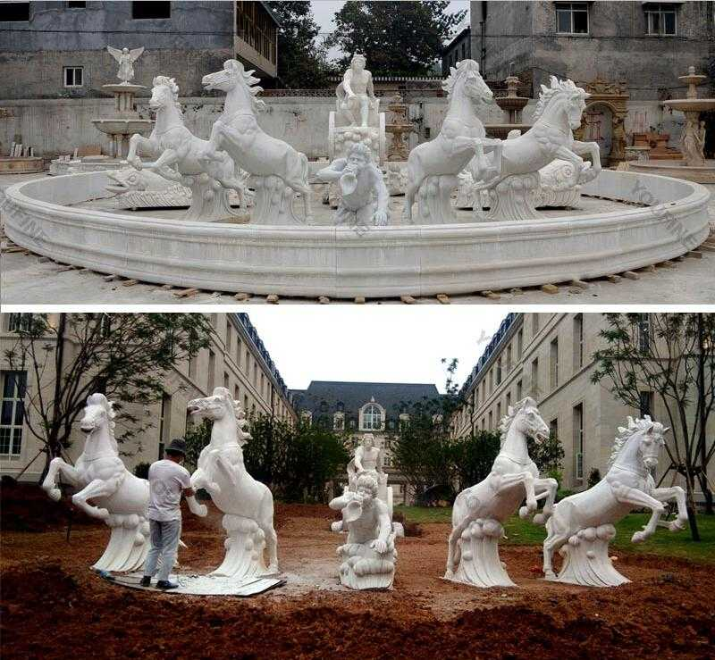 large garden white marble fountains with rearing horse statues for sale for outdoor castle decor