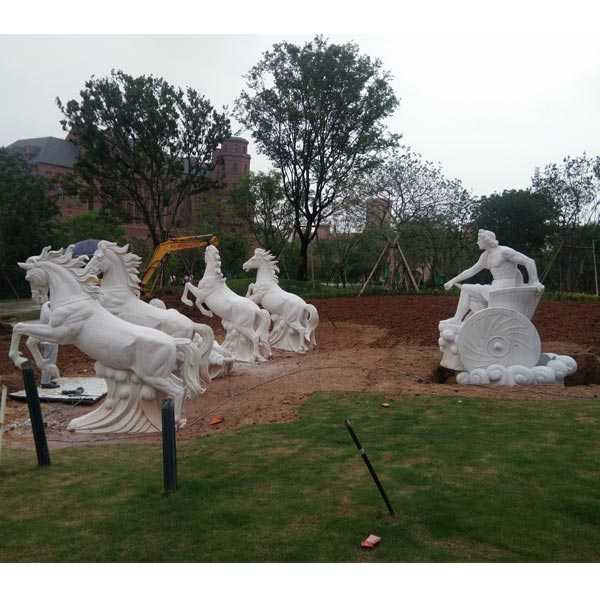 Giant Outdoor White Marble Fountain With Rearing Horse