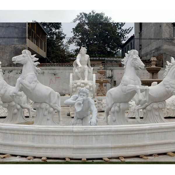 large outdoor white marble fountain with rearing horse statues for sales for outdoor castle decor
