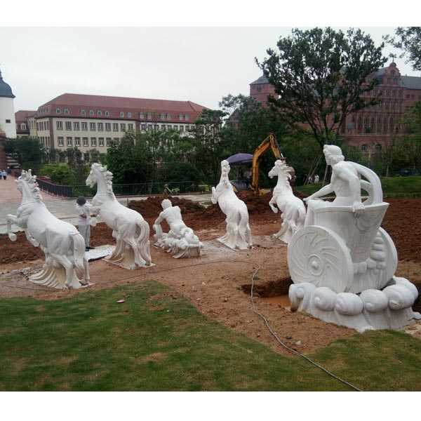 large outdoor white marble fountains with rearing horse statues for sale for outdoor castle decor
