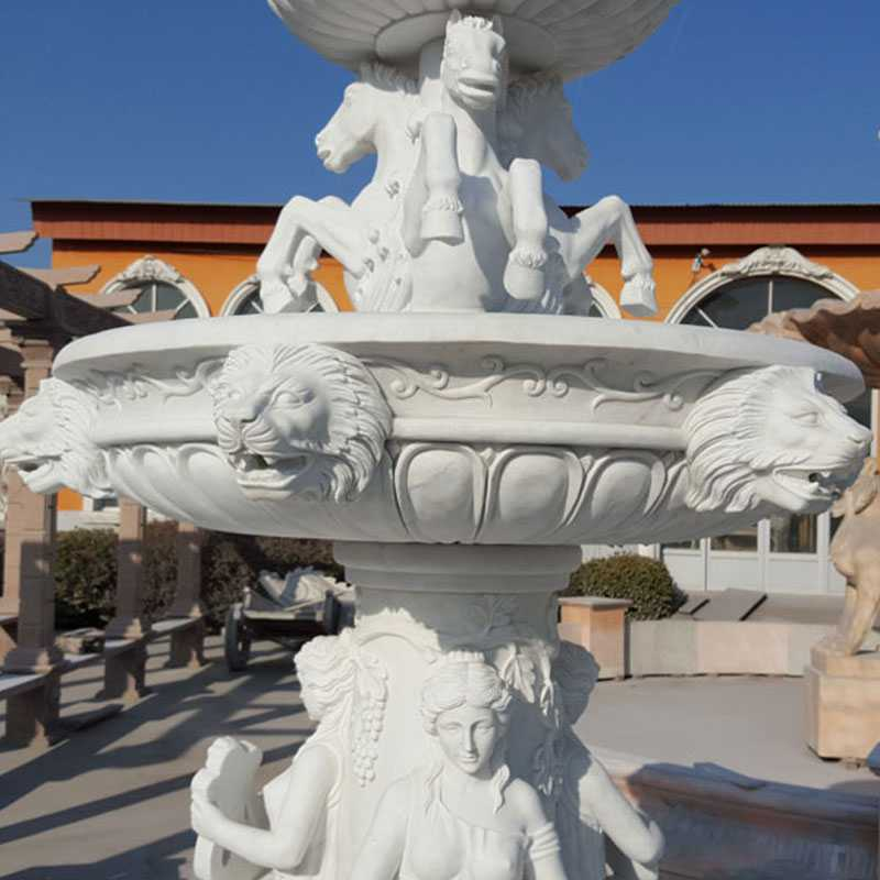 large tiered white two tiered water for garden decor