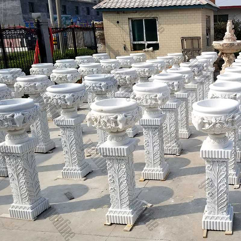 large white marble wholesale planter with pure hand carved designs for garden or street decor on stock for sale