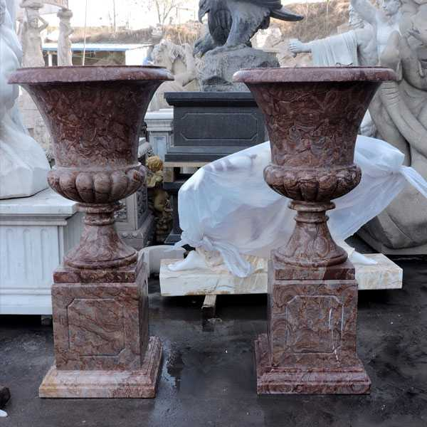 marble manufacturer supply tall unique elegant design marble flower pots and planters with deep basin for decor MOKK-45