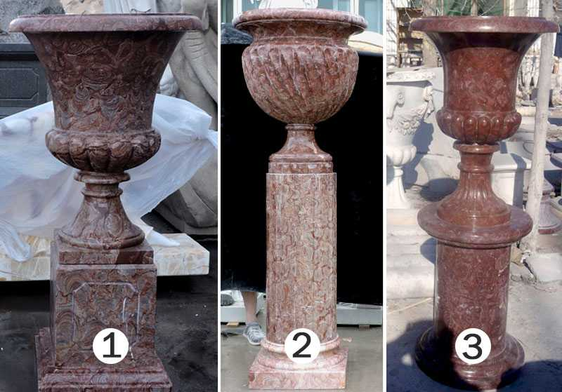 marble manufacturer supply unique elegant design marble flower pots and planters with deep basin for decoration