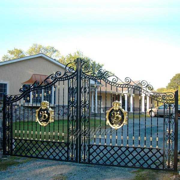Metal Decorative Garden Gate Double Sliding Driveway Wrought