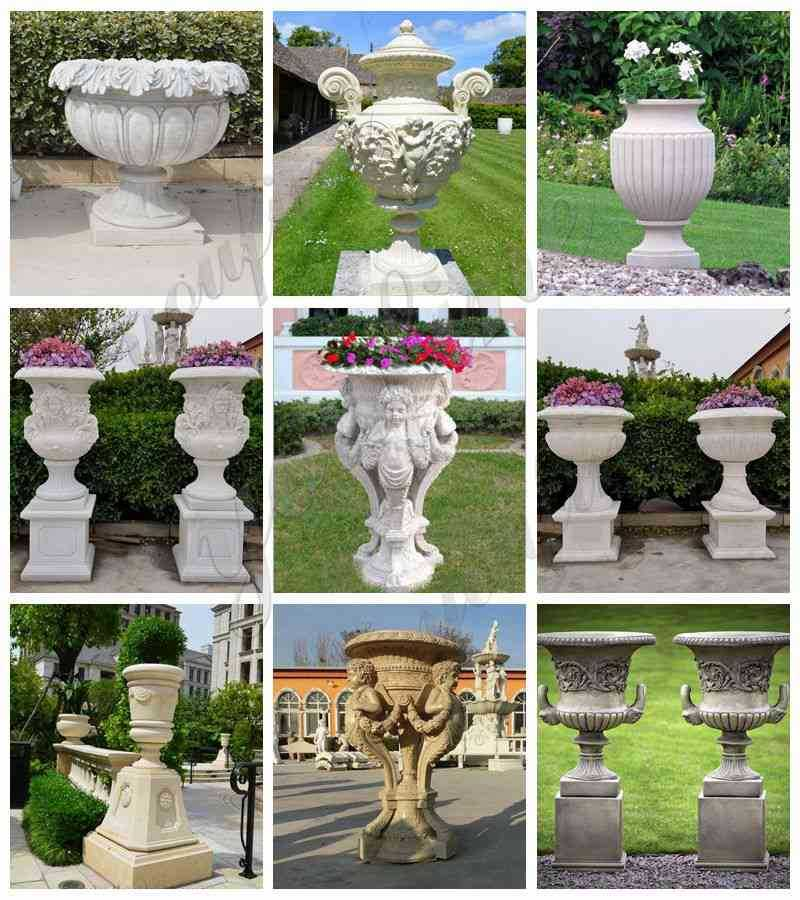 outdoor natural marble planter for garden for sale