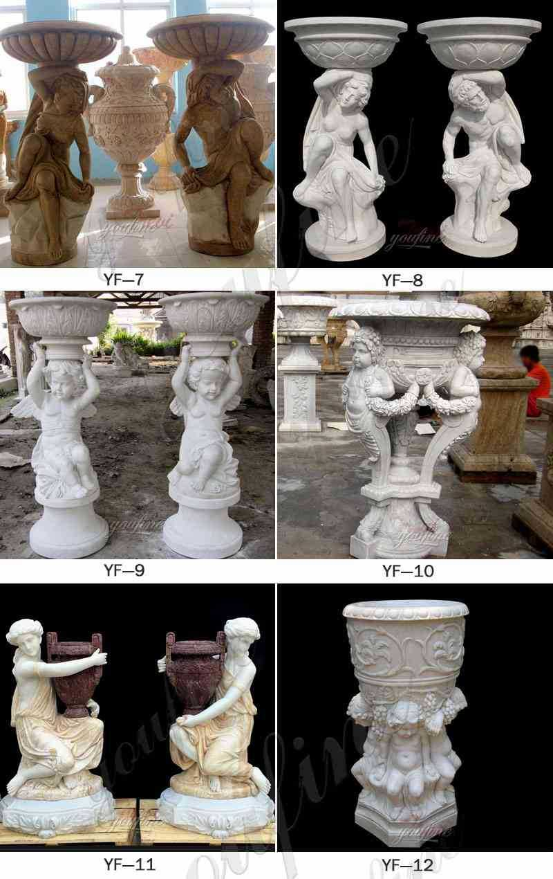 outdoor natural marble planter with angel for garden for sale