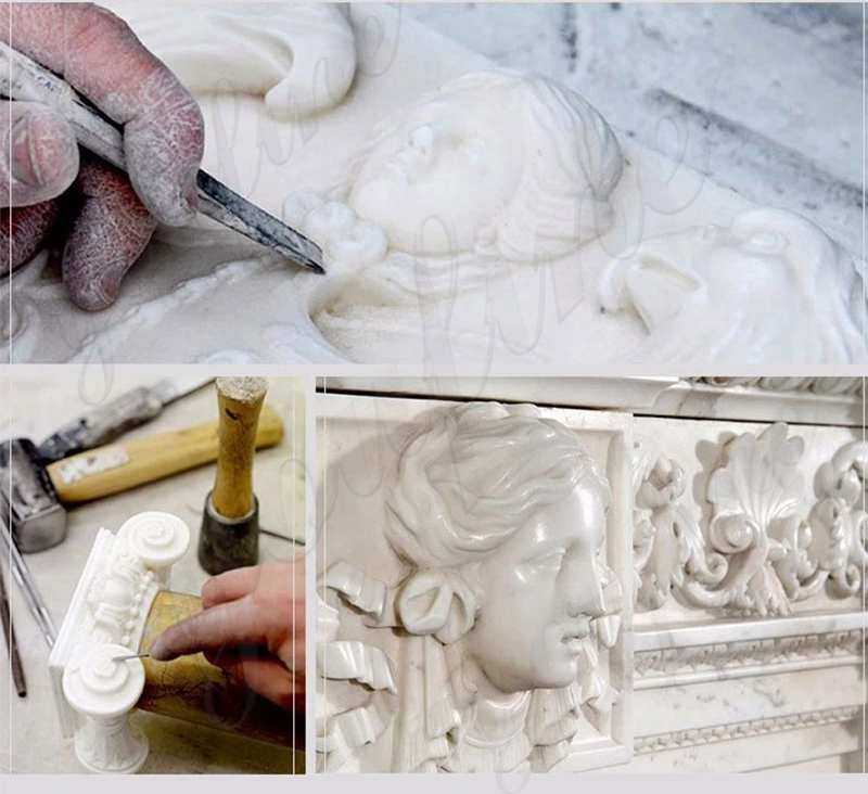 process of hand carved white marble stone flower basket