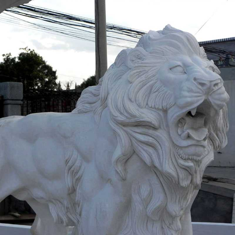 two tiered garden pure white marble fountains with lions and figure statue for sale