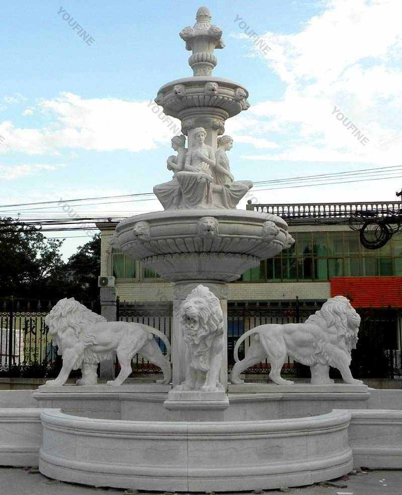 two-tiered-garden-white-marble-fountain-with-lion-and-figure-statue